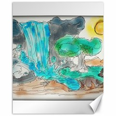 Doodle Sketch Drawing Landscape Canvas 11  X 14   by Celenk