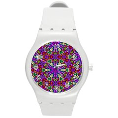 Seamless Tileable Pattern Design Round Plastic Sport Watch (m)