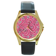 Pattern Doodle Design Drawing Round Gold Metal Watch by Celenk