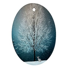 Winter Wintry Snow Snow Landscape Ornament (oval) by Celenk