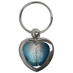 Winter Wintry Snow Snow Landscape Key Chains (heart)  by Celenk