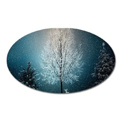 Winter Wintry Snow Snow Landscape Oval Magnet by Celenk