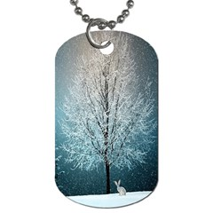Winter Wintry Snow Snow Landscape Dog Tag (two Sides) by Celenk