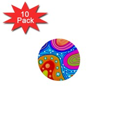 Abstract Pattern Painting Shapes 1  Mini Buttons (10 Pack)  by Celenk