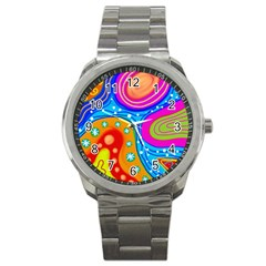 Abstract Pattern Painting Shapes Sport Metal Watch by Celenk