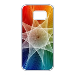 Abstract Star Pattern Structure Samsung Galaxy S7 Edge White Seamless Case by Celenk