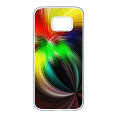 Circle Lines Wave Star Abstract Samsung Galaxy S7 Edge White Seamless Case