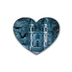 Church Stone Rock Building Rubber Coaster (heart)  by Celenk