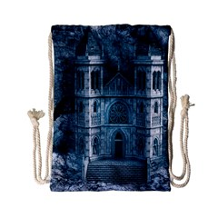 Church Stone Rock Building Drawstring Bag (small) by Celenk