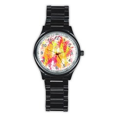 Painting Spray Brush Paint Stainless Steel Round Watch by Celenk