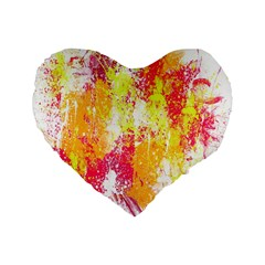 Painting Spray Brush Paint Standard 16  Premium Flano Heart Shape Cushions by Celenk