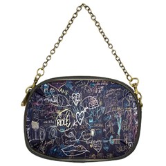 Graffiti Chalkboard Blackboard Love Chain Purses (two Sides)  by Celenk