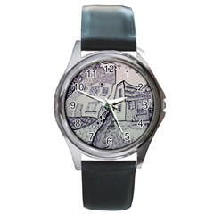 Doodle Drawing Texture Style Round Metal Watch by Celenk