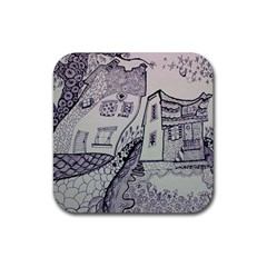 Doodle Drawing Texture Style Rubber Square Coaster (4 Pack)  by Celenk