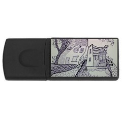 Doodle Drawing Texture Style Rectangular Usb Flash Drive