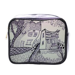 Doodle Drawing Texture Style Mini Toiletries Bags by Celenk