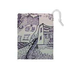 Doodle Drawing Texture Style Drawstring Pouches (medium)  by Celenk