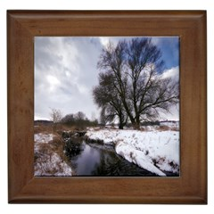 Winter Bach Wintry Snow Water Framed Tiles by Celenk