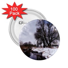 Winter Bach Wintry Snow Water 2 25  Buttons (100 Pack)  by Celenk
