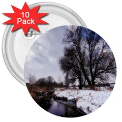 Winter Bach Wintry Snow Water 3  Buttons (10 Pack)  by Celenk