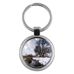 Winter Bach Wintry Snow Water Key Chains (round)  by Celenk