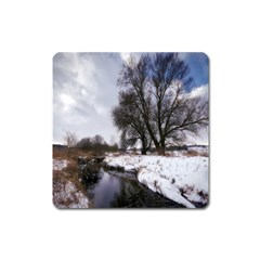 Winter Bach Wintry Snow Water Square Magnet