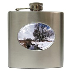 Winter Bach Wintry Snow Water Hip Flask (6 Oz) by Celenk