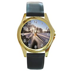Winter Lake Cold Wintry Frozen Round Gold Metal Watch by Celenk