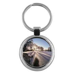 Winter Lake Cold Wintry Frozen Key Chains (round)  by Celenk