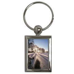 Winter Lake Cold Wintry Frozen Key Chains (rectangle)  by Celenk