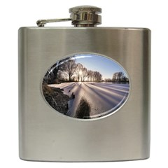 Winter Lake Cold Wintry Frozen Hip Flask (6 Oz) by Celenk