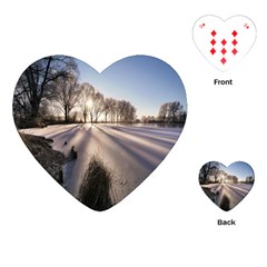 Winter Lake Cold Wintry Frozen Playing Cards (heart)