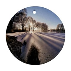 Winter Lake Cold Wintry Frozen Round Ornament (two Sides) by Celenk