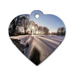 Winter Lake Cold Wintry Frozen Dog Tag Heart (one Side) by Celenk