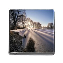 Winter Lake Cold Wintry Frozen Memory Card Reader (square) by Celenk