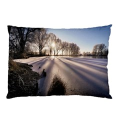 Winter Lake Cold Wintry Frozen Pillow Case (two Sides)