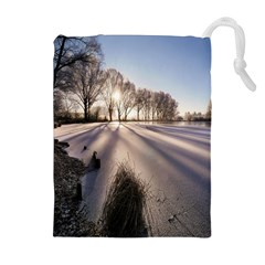 Winter Lake Cold Wintry Frozen Drawstring Pouches (extra Large) by Celenk