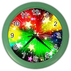 Star Abstract Pattern Background Color Wall Clocks by Celenk