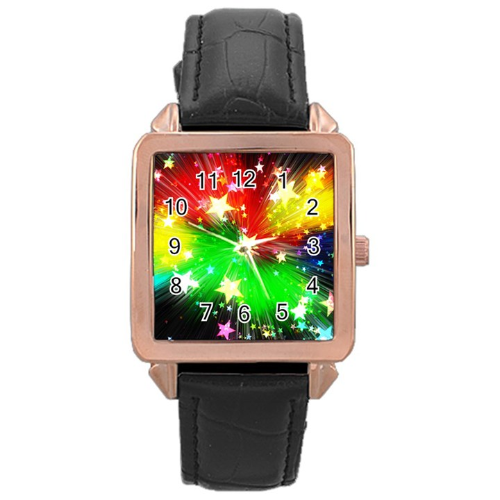 Star Abstract Pattern Background Rose Gold Leather Watch