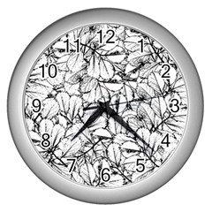 White Leaves Wall Clocks (silver)  by SimplyColor