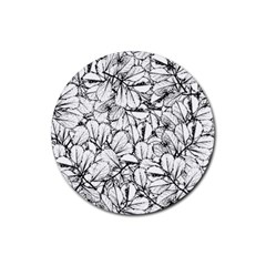 White Leaves Rubber Coaster (round)  by SimplyColor