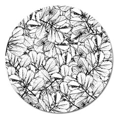 White Leaves Magnet 5  (round) by SimplyColor