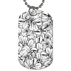 White Leaves Dog Tag (one Side) by SimplyColor
