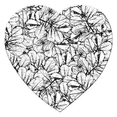 White Leaves Jigsaw Puzzle (heart) by SimplyColor