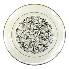 White Leaves Porcelain Plates by SimplyColor