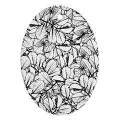 White Leaves Oval Ornament (two Sides) by SimplyColor