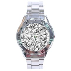 White Leaves Stainless Steel Analogue Watch by SimplyColor