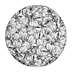 White Leaves Round Filigree Ornament (two Sides) by SimplyColor