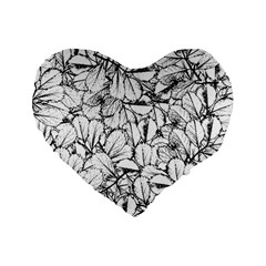 White Leaves Standard 16  Premium Heart Shape Cushions by SimplyColor