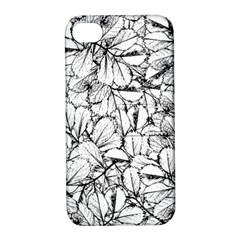 White Leaves Apple Iphone 4/4s Hardshell Case With Stand by SimplyColor
